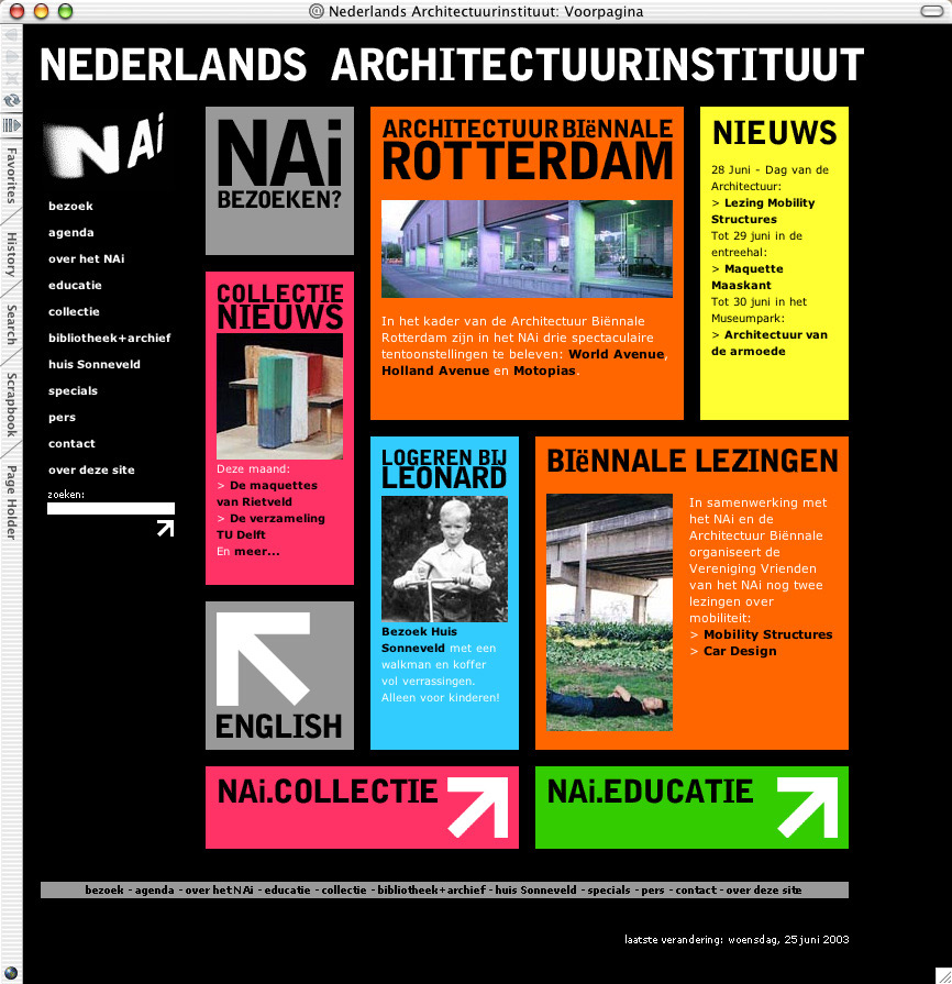 Website Nederlands Architectuurinstituut 2003